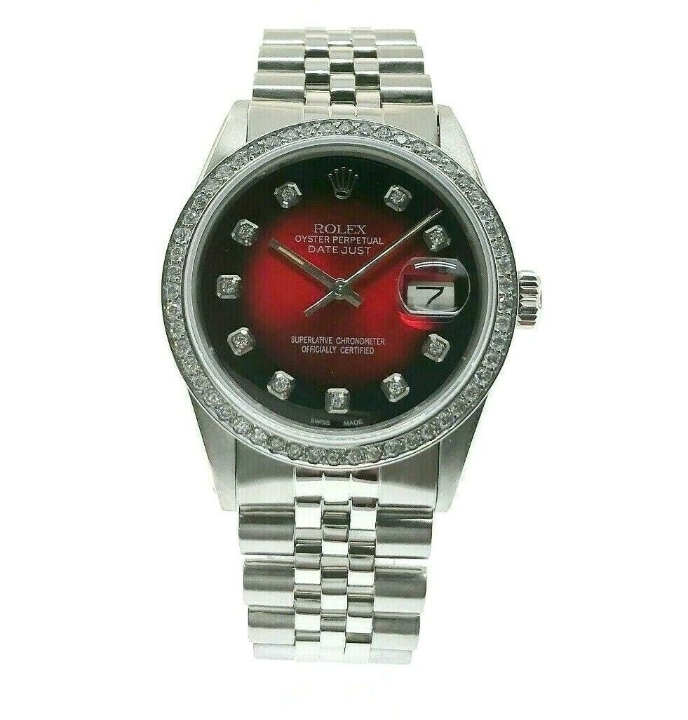 Rolex 36MM Datejust Diamond Vignette Dial & Bezel Jubilee Band Steel Watch 16030