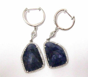 14.40 TCW Natural Blue Sapphire & Diamond Drop Earrings Push Back 14k White Gold
