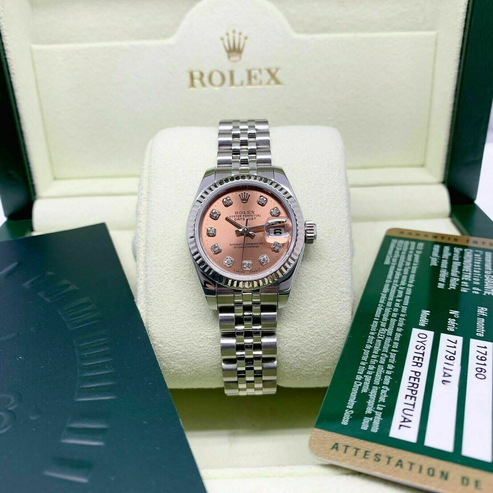 Rolex 26MM Lady Diamond Datejust 18 Karat White Gold Steel Watch Ref # 179174