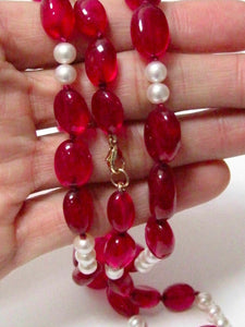 Fine Natural Pearl & Red Quartz String Necklace 27 Inches Long 18k Yellow Gold