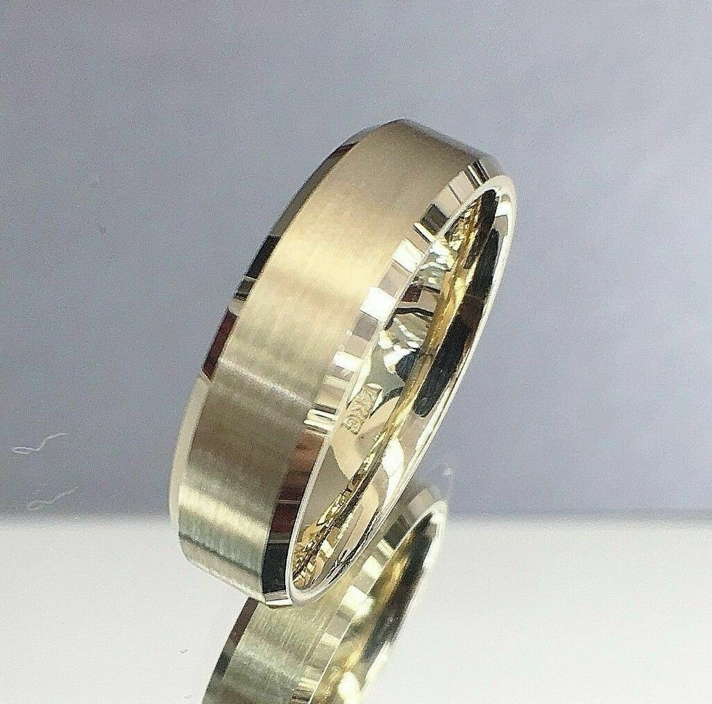 Men's 14K Yellow Gold Wedding Band Size Brushed 10.5 6MM Comfort Fit
