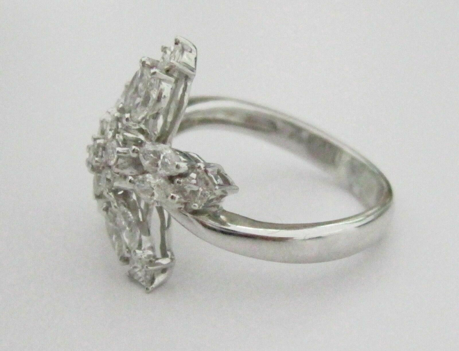 1.22 Tcw Round and MArquise Diamond Cluster Star Cocktail Ring Size 6 G SI2 18kt