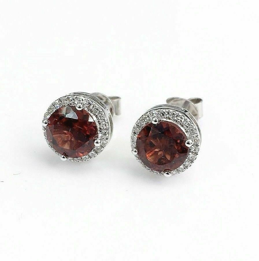 2.37 Carats t.w. Garnet and Diamond Halo Stud Earrings 14K White Gold New