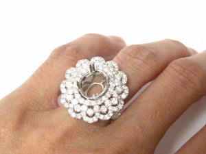4 Prongs Cluster Semi-Mounting for Round or Oval Diamond Engagement Ring