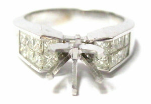 Fine 6 Prongs Semi-Mounting Princes Cut Diamond Ring Engagement 18kt White Gold