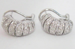1.19 TCW Natural Round Brilliant Diamond Huggie Earrings G SI1 14k White Gold