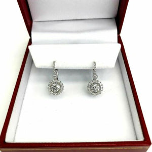 1.33 Carats t.w. Round Brilliant Diamond Halo Leverback Earrings 18K White Gold