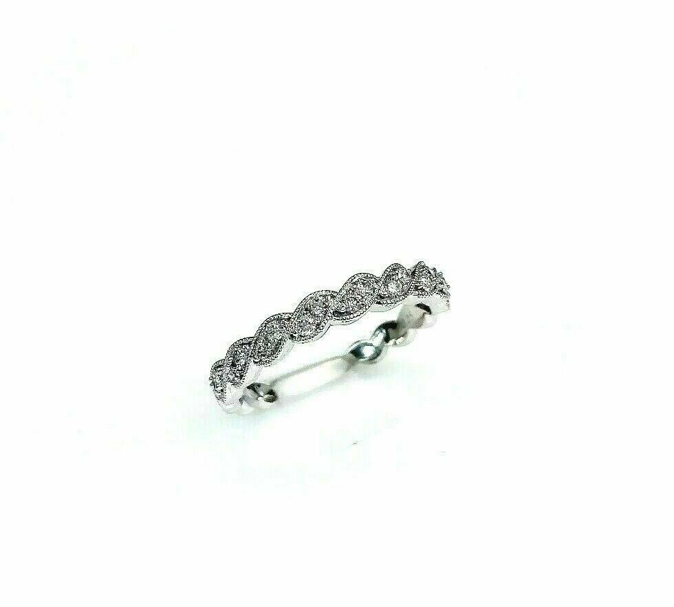 0.25 Carat t.w. Diamond Twist Stack/Wedding Ring 14K Gold Millgrain