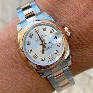 Rolex 26MM Lady Datejust 18K Rose Steel Watch Ref # 179161 Factory Diamond Dial