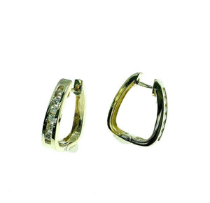 0.40 Carats Channel Set Round Diamond Trapezoid Hoop Earrings 14K Yellow Gold