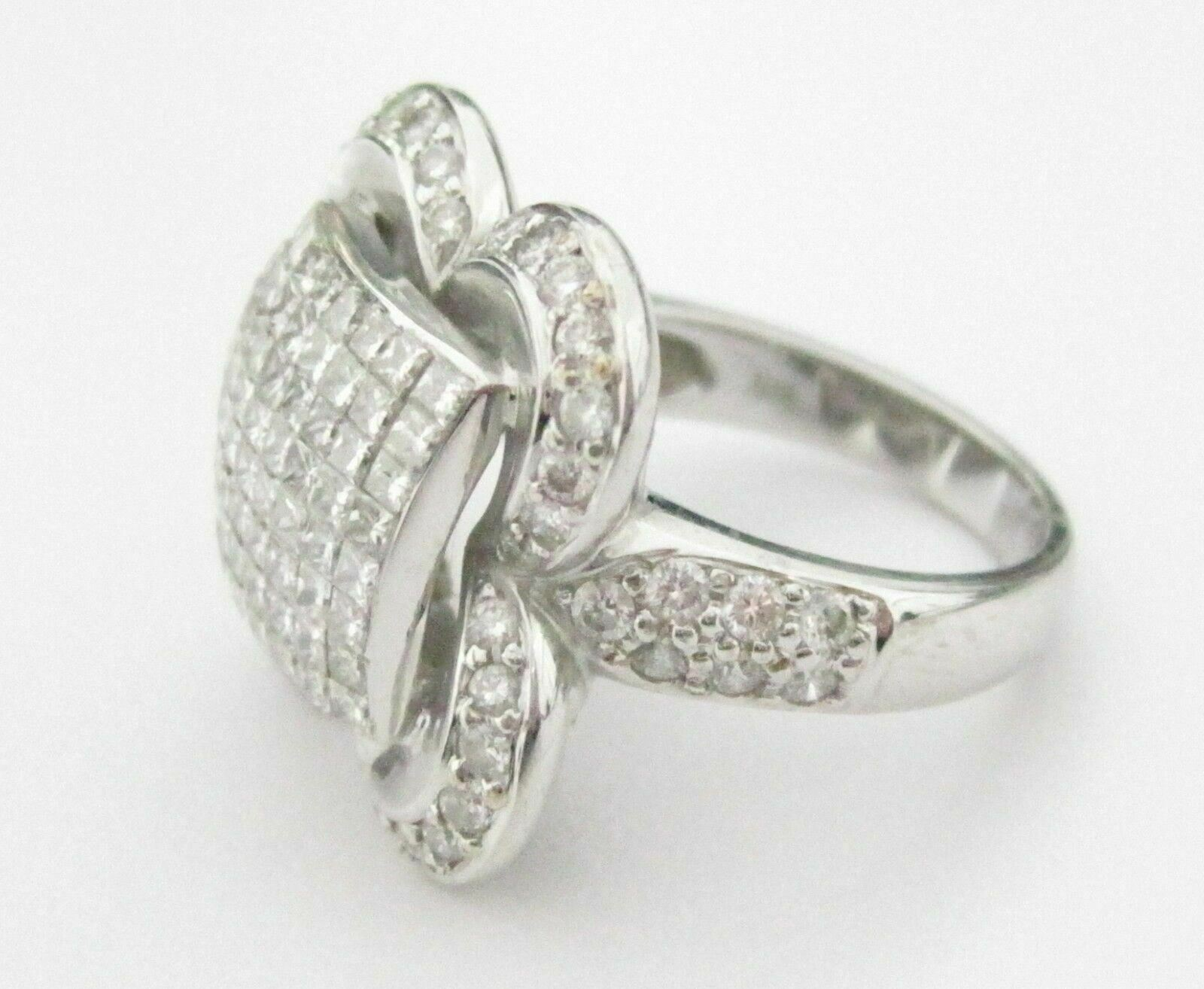 2.30 TCW Round & Princess Cut Diamond Cluster Cocktail Ring Size 6.5 14k WGold
