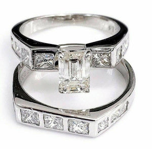 2.08 Carats t.w. Diamond Wedding Set Center 0.78 Carat Center Platinum