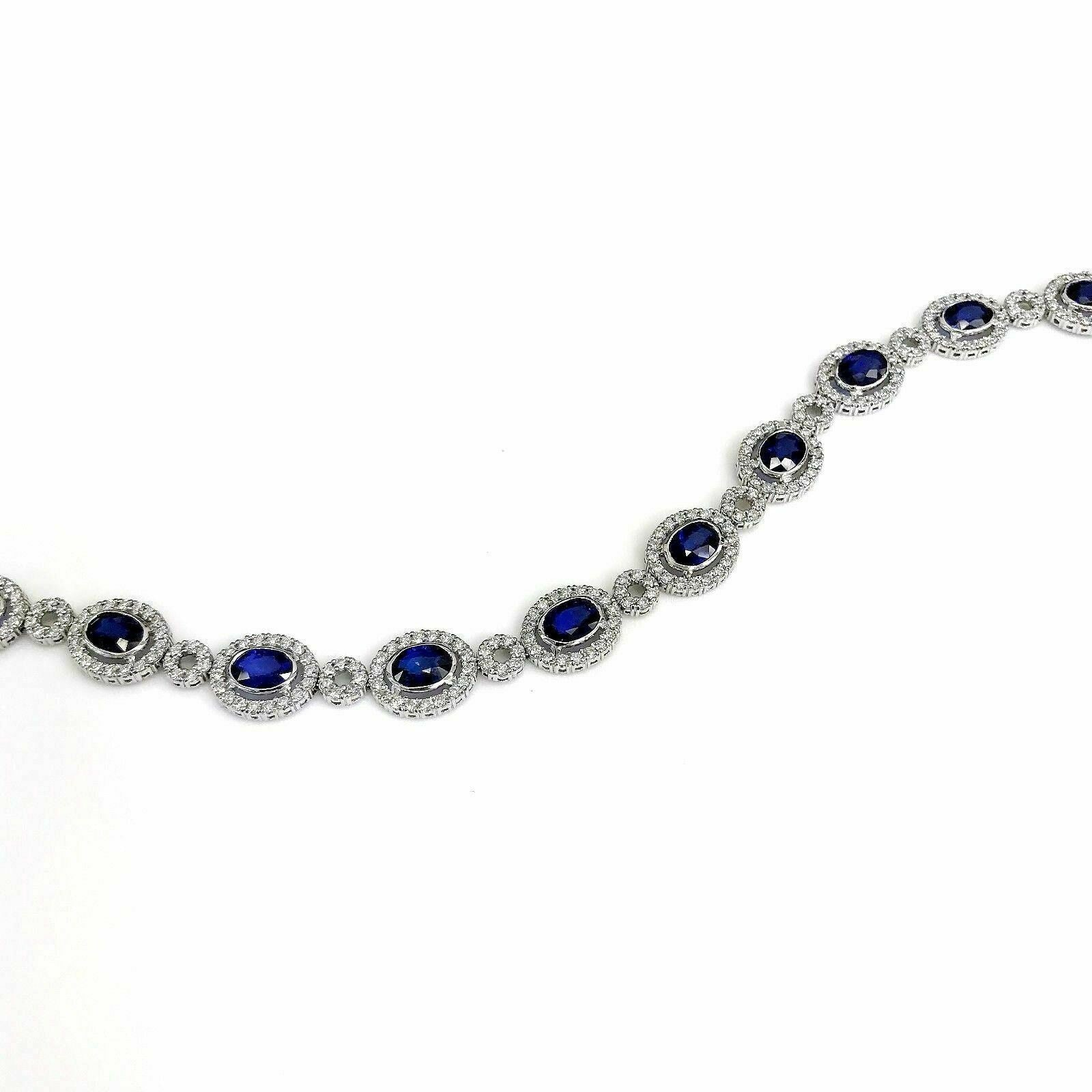 11.91 Carats Blue Sapphire and Diamond Tennis Bracelet 14K White Gold