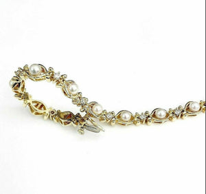 14K Yellow Gold Cultured Pearl Wedding Tennis Bracelet 22.6 Grams