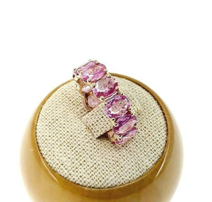 Fine 7.30 Carats t.w. Pink Sapphire Custom Made Eternity Ring 14K Rose Gold