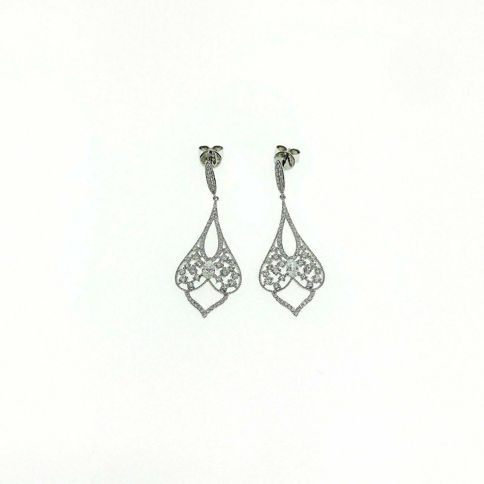 1.53 Carats t.w. Diamond Chandelier Dangle Earrings 18 Karat White Gold