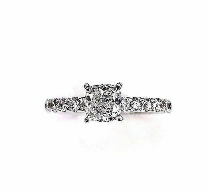 1.29 Carats GIA Diamond Engagement Ring 0.75 D SI1 GIA Cushion Center Stone 14K