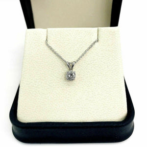 0.55 Carat Round Diamond Solitaire Pendant with 14K White Gold Chain