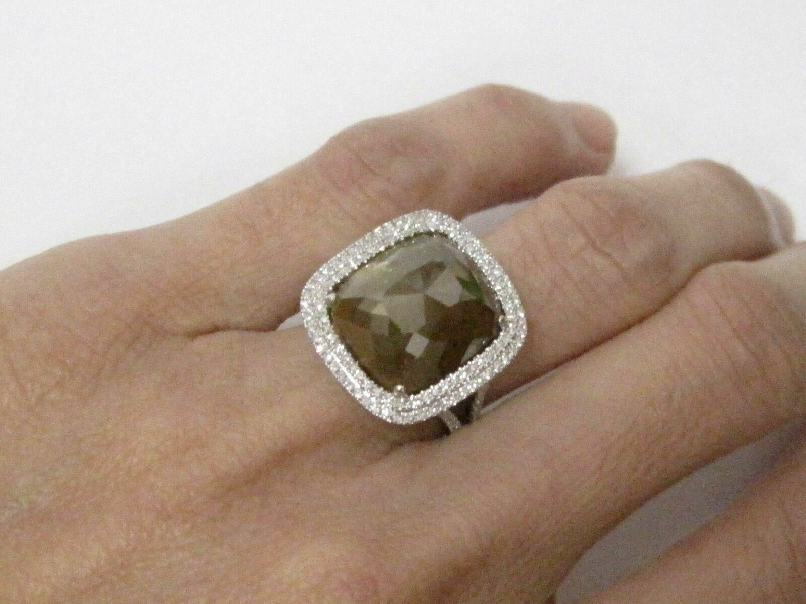 7.83 TCW Natural Solitaire Cushion Facet Colored Diamond Ring 14k W/G Size 6.5