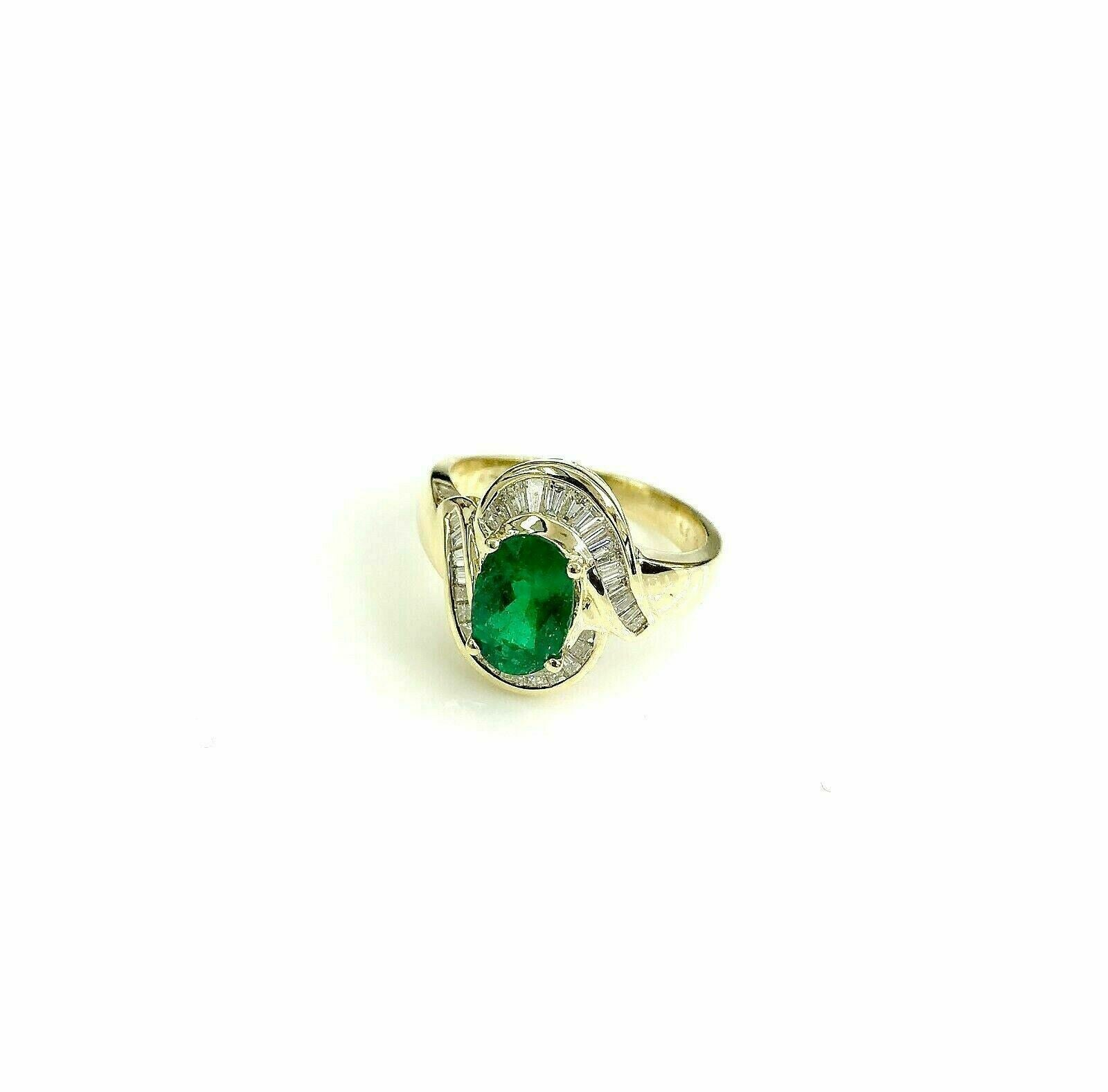 2.30 Carats Oval Emerald & Baguette Diamond Anniversary Cocktail Ring 18k Gold