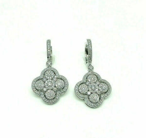 1.79 Carats t.w. Diamond Clover Dangle Earrings 14K White Gold 1.50 Inch Drop