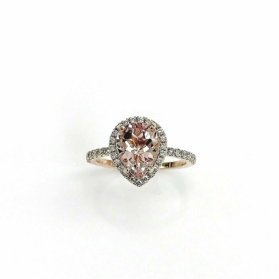 1.83 Carats tw Pear Peach Morganite & Diamond Halo Engagement Ring 14K Rose Gold