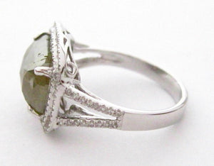 4.92 TCW Radiant Green Diamond w/ Accents Cocktail Ring Size 7 14k White Gold