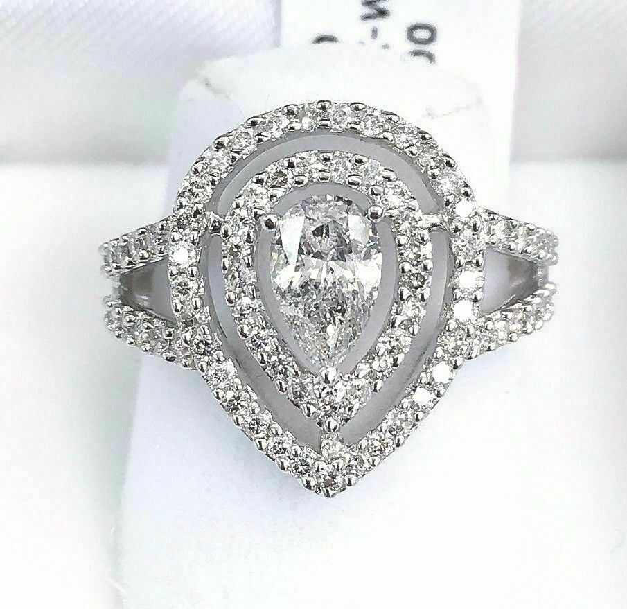 1.12 Carats t.w. Diamond Halo Wedding/Anniversary Ring 14 Karat Gold Brand New
