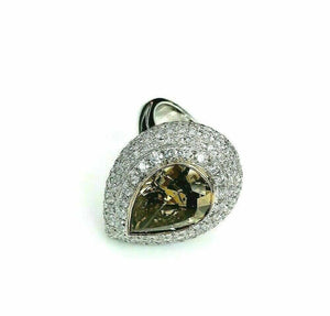 12.41 Carats t.w. GIA Pear Shape Natural Fancy Dark Brown w Puffed Halo Ring 18K