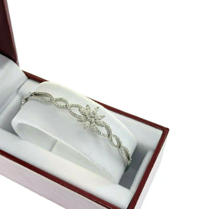 1.32 Carats Marquise & Round Diamond Flower Bangle Bracelet 14 Karat White Gold