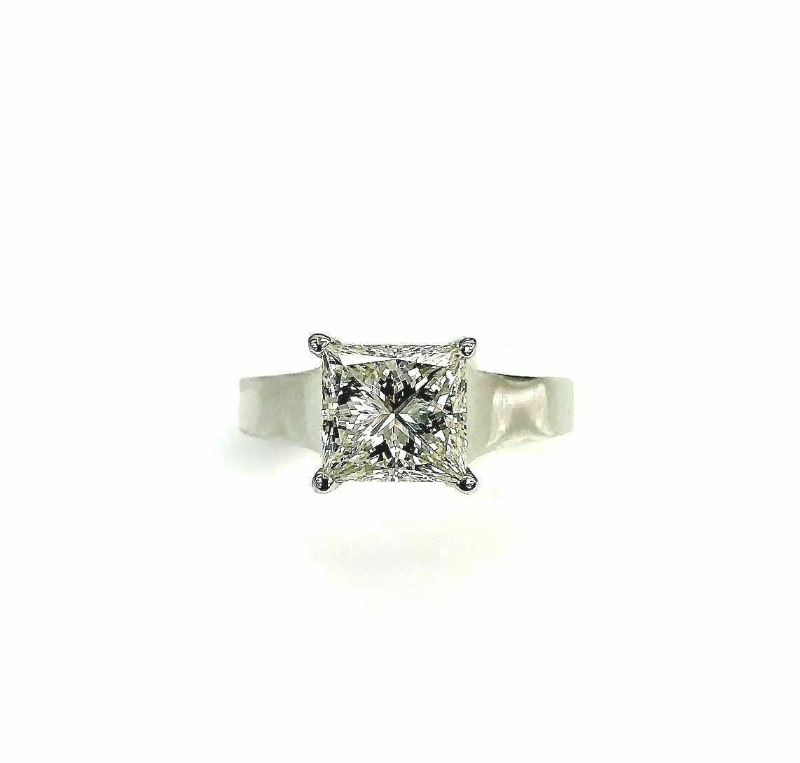 2.13 Carats Princess Cut Diamond Solitaire Wedding Ring EGLUSA $28,400 Appraisal
