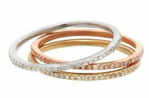 Stackable 3 Diamond Half Eternity Bands Set 14k White, Yellow, & Rose Gold