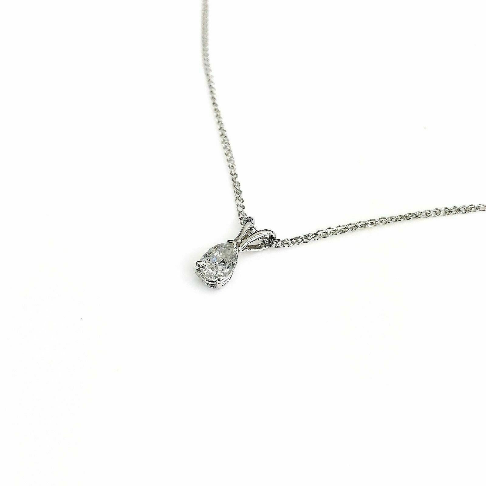 0.48 Carat Pear Diamond Solitaire Pendant with 14K White Gold Chain