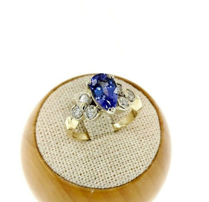 1.94 Carats Round Diamond and Tanzanite Wedding Ring 14K 2Tone Gold 1.39 Center