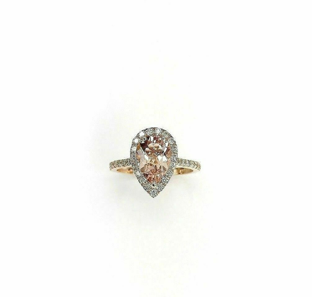 2.25 Carats t.w. Pear Morganite & Diamond Halo Engagement Ring 14K Rose Gold