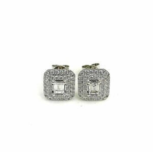 1.33 Carats t.w. Carre Baguette and Round Diamond Halo Earrings 14K White Gold