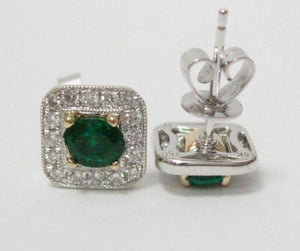 1.12 TCW Natural Oval Green Emerald & Diamond Accents Stud Earrings 18kt WG