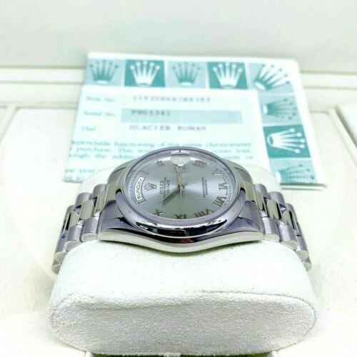 Rolex GLACIER BLUE Platinum Presidential 36mm Watch 118206 Box and Papers