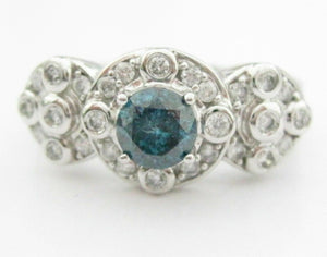 1.14 TCW Natural Round Blue & White Diamonds Solitaire Accents Ring 14kt WG