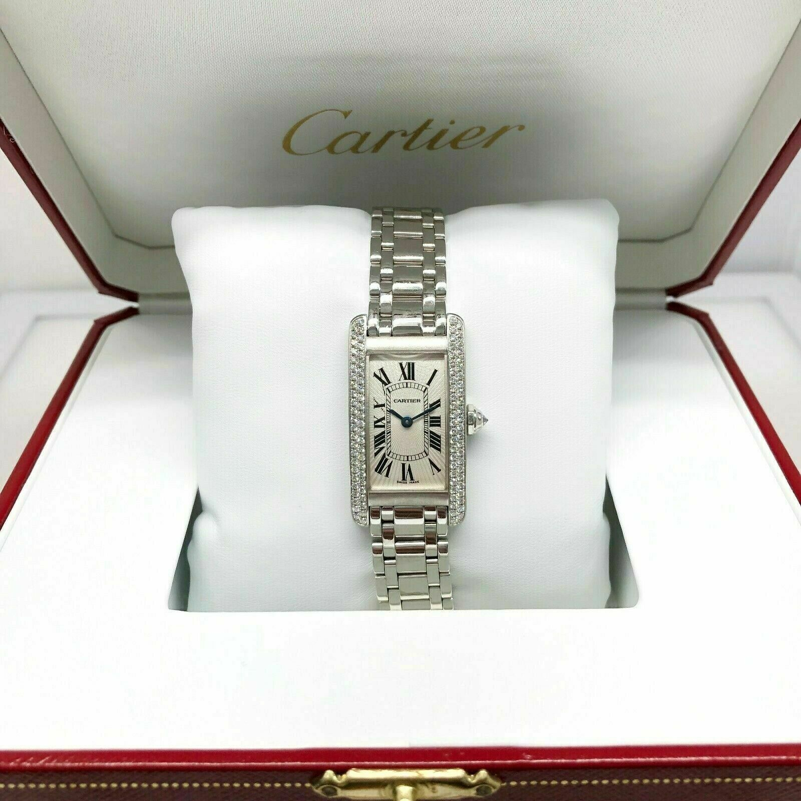 Womens Cartier Tank Americaine Factory Set Diamond Watch Solid 18K White Gold