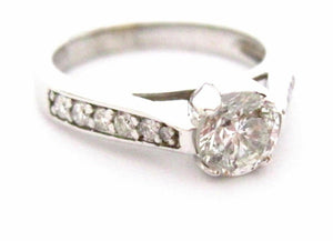 1.27 TCW Round Diamond Solitaire w/ Accents Engagement Ring Size 6.5 G SI1 14k