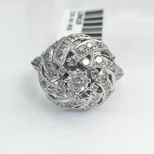 0.98 Carat t.w. Diamond Ballroom Ring 14K Gold 0.60 Inch Diameter