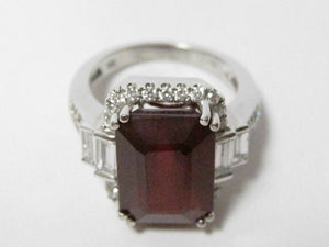 11.42 TCW Emerald Red Ruby & Round Diamond Accents Ring Size 6.5 18k White Gold