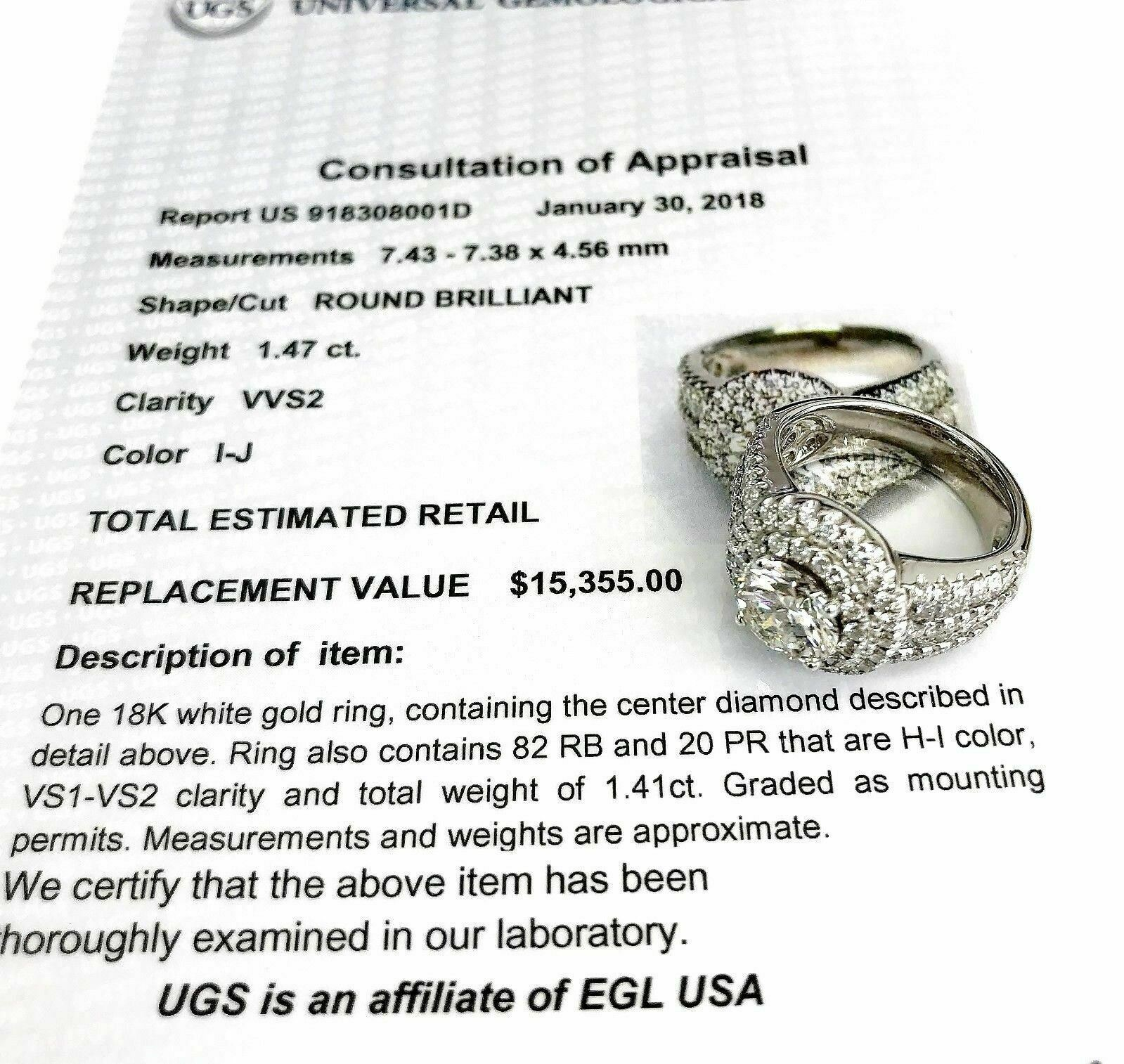 $15,355 Retail 2.88 Carats EGLUSA Round Brilliant Diamond Halo Engagement Ring