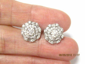1.48TCW Round Brilliant and Baguettes Diamond Cluster Earrings 18k White Gold
