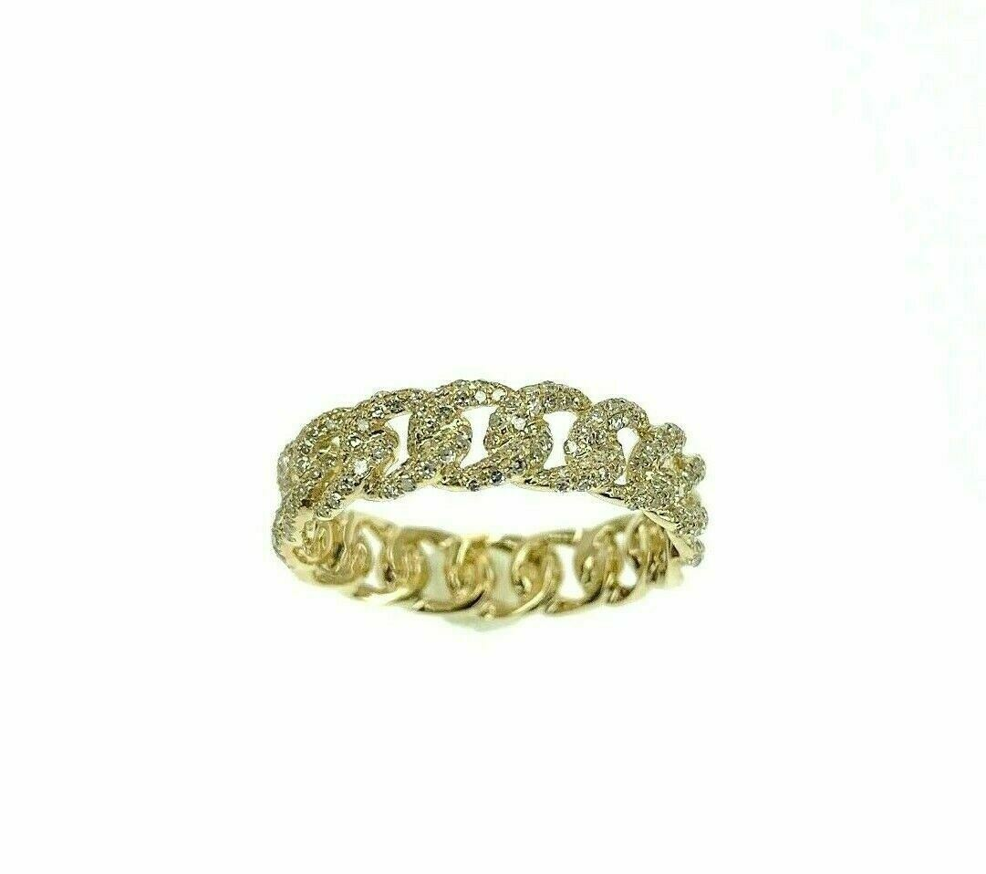0.50 Carat t.w. Pave' Diamond Cuban Link/Chain Stack Ring 14K Yellow Gold 5.3 MM