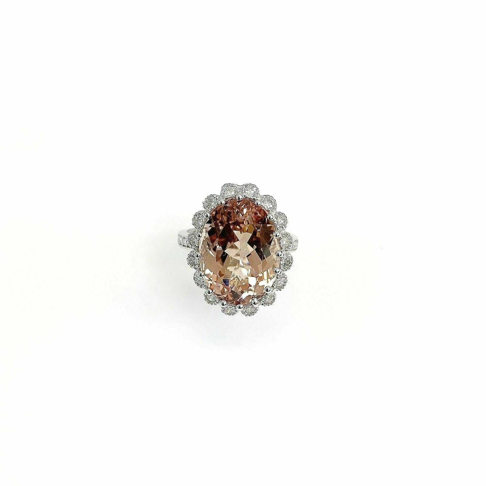 12.29 Carats Diamond and Oval Morganite Halo Cocktail Ring 14K White Gold New