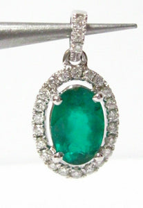 1.83 TCW Natural Oval Green Emerald & Diamond Accents Pendant 14k White Gold