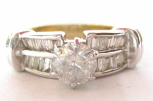 1.32 TCW Round & Baguette Diamonds Anniversary Ring Size 7 G I1 14k Yellow Gold