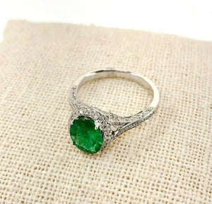 1.80 Carats t.w. Diamond and Emerald Halo/Under Halo 3 Sided Pave Ring 14K Gold